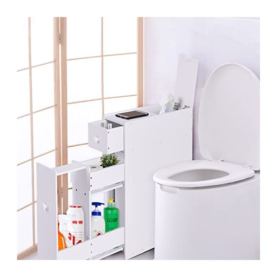 Tangkula Bathroom Wood Storage Cabinet Home Kitchen Floor Storage Organizer with Slide Out Drawer Free Standing Space Saving Storage Cabinet Toilet Paper Holder, White - 【Sturdy Body & Solid Shoulder】Sturdy construction made of MDF material features solid and stable while shouldering your tissues and various kinds of bathroom essentials. It is surely your reliable helper in refreshing your bathroom to a neat and organized place, which can bring you a long lasting using satisfaction. 【Multiple Values & Premium Performance】With various drawers and cabinets design, you can surprisingly place your tissues, shampoos, creams, towels as you like. The lightweight slide-out bathroom floor cabinet helps you to make full use of space. Its premium performance can totally meet your demand of toilet storage. 【Optimal Organizer & Space Saver】 It maximizes your bathroom's available space while providing functional storage, which also makes you quick access to your bathroom accessories. The multiple cabinets design can perfectly improve the storage efficiency, which also brings a reliable using experience. - shelves-cabinets, bathroom-fixtures-hardware, bathroom - 417DdGYmvGL. SS570  -