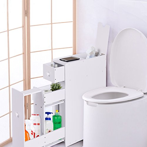 Tangkula Bathroom Wood Storage Cabinet Home Kitchen Floor Storage Organizer With Slide Out