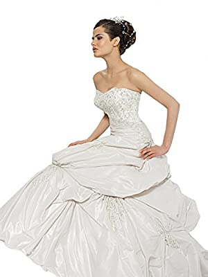 Wedding Dress by Allure Bridals 8593 Strapless Beaded Pick-Up - White/Silver, size 12
