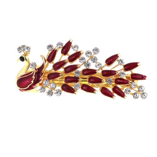 DealMux Dark Red Peacock Design Faux Rhinestone Inlay Barrette French Clip