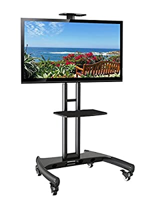 "Elitech LED, LCD TV Cart Mobile Stand For Up To 65"" TV with Camera Top Tray and Middle Shelf"