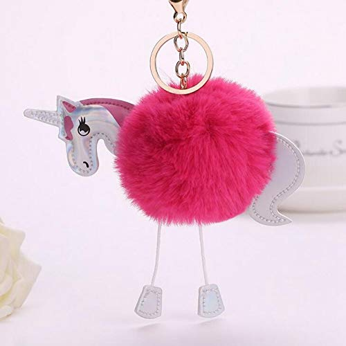 uffy Unicorn Keychains Women's Pom Poms Faux Rex Rabbit Fur Ball Key Chain Girl Bag Hang Car Key Ring Costume Accessories - by YPT - 1 PCs ()