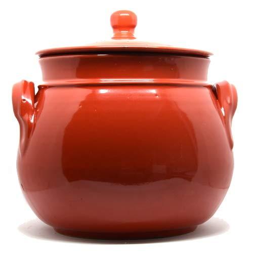 Colì Olla Redondeada roja de Terracota con Tapa, 20 x 20 x 24 cm ...