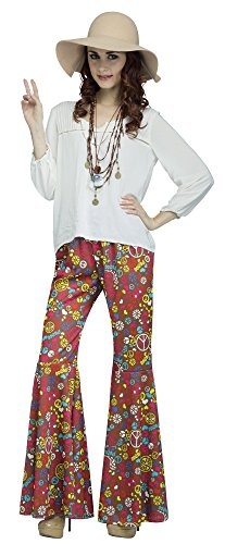 Fun World Women's Sml/med Peace/Bell Bottoms, Multi, Medium/Small (Hip 1970s Hugger)