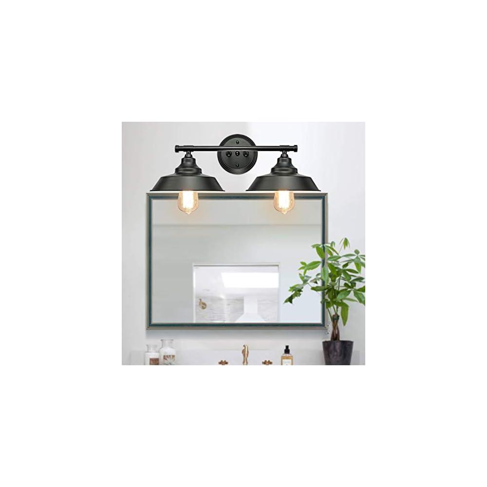 GOODYI 2-Lights Vanity Wall Sconce Lighting, Rustic Style Matte Black Bathroom Light Fixtures Over Mirror Industrial…