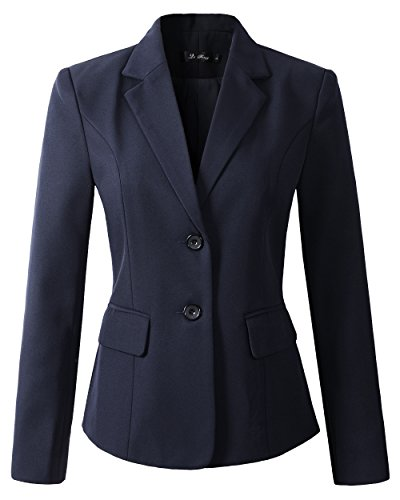 Womens Formal 2 Button Blazer Jacket (XS, Navy) (Suit Jackets For Women 2 Button)