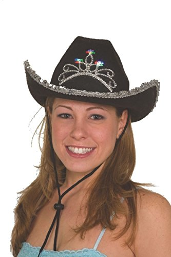 Jacobson Hat Company Child's Felt Black Cowboy Hat with Light-Up Tiara -