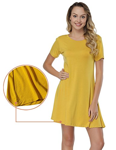 Shirt T Back Sleeve Cross Ginger Dress BOHISEN Women's Plain Criss Short Casual an8zX