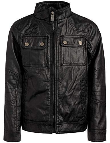 Urban Republic Boy's Faux Leather Officer Jacket, Black, Size 14/16'