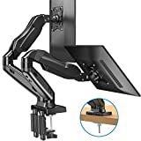 HUANUO Dual Monitor Stand - Adjustable Gas Spring Monitor Desk Mount VESA Bracket with C Clamp, Grommet Mounting Base for 13 to 27 Inch Computer Screens - Each Arm Holds 4.4 to 14.3lbs