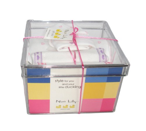 Noa Lily Small Layette Gift Basket, Pink Hearts, 6 Months by NOA LILY