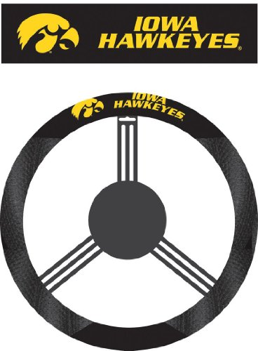 NCAA Iowa Hawkeyes Polysuede Steering Wheel - College Station Mall