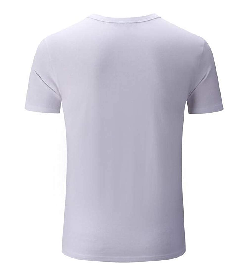 Sweatwater Mens Pullover Solid Color Vogue V Neck Summer Short Sleeve T-Shirt Top