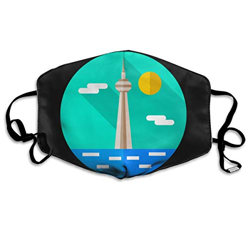 SDQQ6 Cn-Tower Mouth Mask Unisex Printed Fashion Face