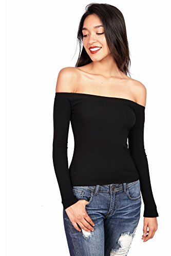 Ambiance Women's Off Shoulder Stretchy Long Sleeve Top (M, Black)