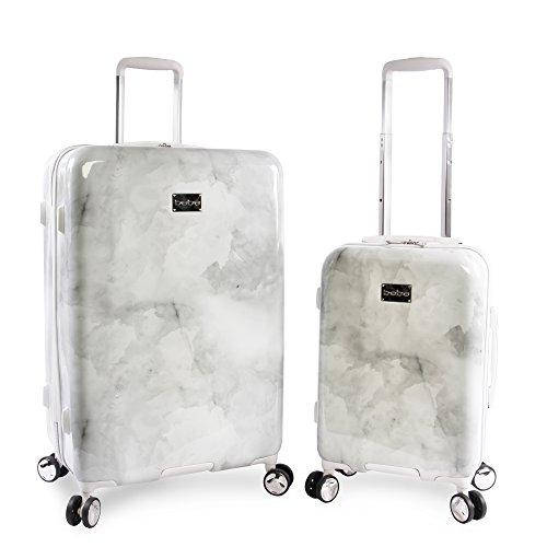 BEBE Women's Lilah 2 Piece Set Suitcase with Spinner Wheels, Silver Marble