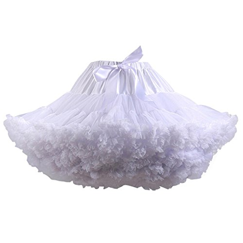 Caissen Women's Short Petticoat Tulle Ballet Mini Dance Skirt Tutu Ball Gown Multi-Layer Tulle Half Slips White