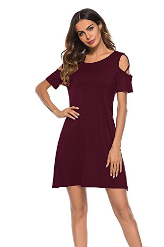 Femmes Robes Épaule Froid Col Rond Tunique Lâche Robe T-shirt Casual A1_burgundy
