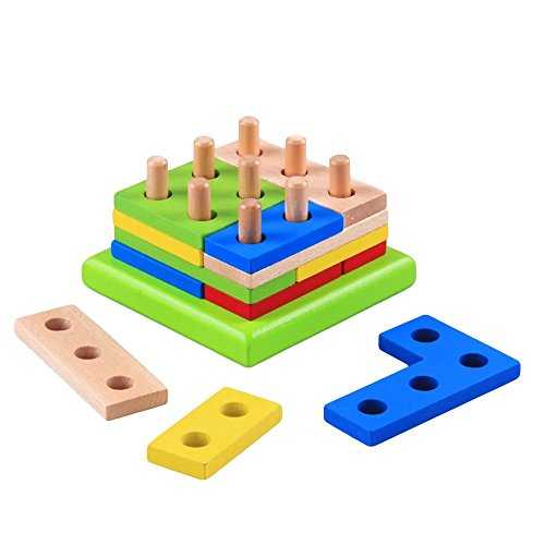 1 pc Montessori Geometry Match Intelligence Game Building Blocks Puzzle Toy Wooden Early Pre-School Learning Educational (Halloween Puzzles For 3rd Grade)