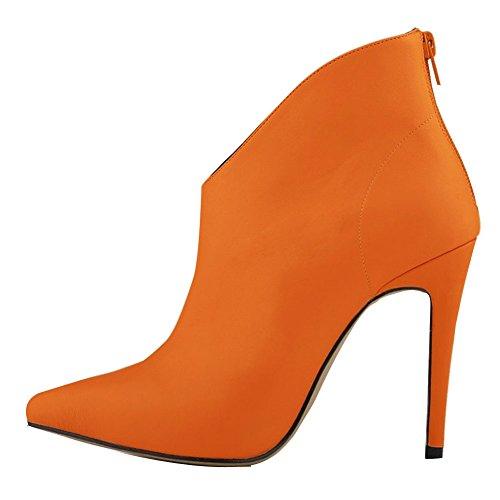 Fereshte Womens Fashion Pekade Tå Pu Läder All Matchade Känga Apelsin