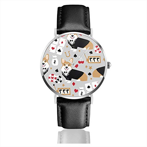 Star Naughty Kirky Custom Black Dial Classic Watch Black Leather for Men and Women Leisure Ultra-Thin Simple Quartz Watch Analog Dial Stainless Steel Case