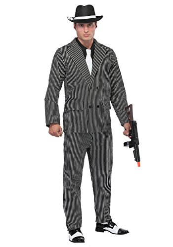 FunCostumes Men's Wide Pin Stripe Gangster Costume (Large)