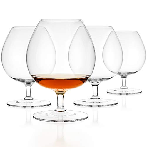 Luxbe - Brandy & Cognac Crystal Glasses Snifter, Set of 4 - Large Handcrafted - 100% Lead-Free Crystal Clear Glass - Great for Spirits Drinks - Bourbon - Wine - 25.5-ounce