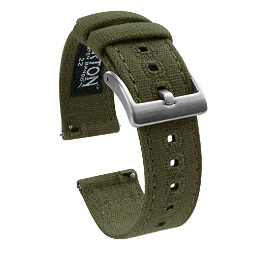 Barton Canvas Quick Release Watch Band Straps - Choose Color & Width - 18mm, 20mm, 22mm - Army Green 20mm (Swiss Army Watch Band Loop)