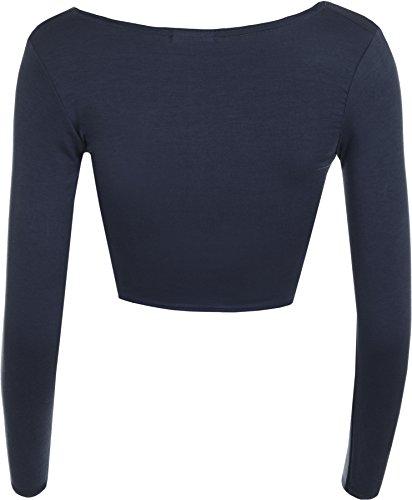 Rotondo T Lunghe A Semplice Maniche Donna Collo Da Crop Blu 14 Corto shirt Canotta Nuovo 8 EnAv1qY
