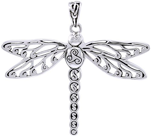 Dragon Triskele - Jewelry Trends Celtic Triskele Dragonfly Sterling Silver Pendant