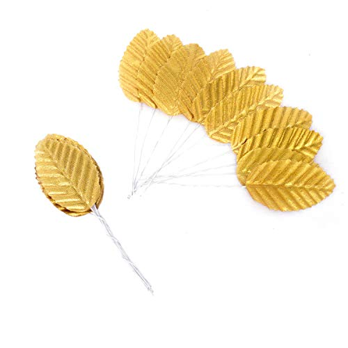 D-buy 200 Pcs Silk Leaf Artificial Leaves, for Christmas Decor, Wedding Decor, DIY Home Decorative, Christmas Party Decoration, DIY Wreath Gift Scrapbooking, Craft Fake Flower Supplies (Gold)
