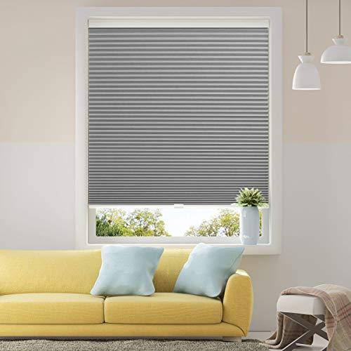 Cellular Shades Cordless Blackout Honeycomb Blinds Fabric Window Shades 46 x 38 inch, Cool Silver(BLACKOUT)