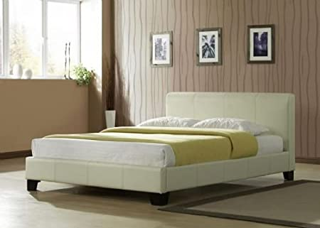Birlea Barcelona 4ft Small Double Cream Leather Bed Amazon Co Uk