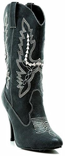 Ellie Shoes Women's 4 Inch Heel Ankle Cowgirl Boot With Stiletto Heel (Black;8) ()