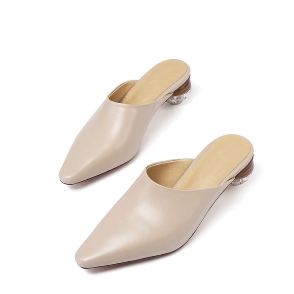 Apricot T-JULY Women Pumps Genuine Leather shoes Slip on Spring Summer Elegant Casual shoes Woman Mules shoes