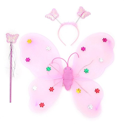 Girls Butterfly Smdoxi 3pcs/Set Fairy, And Angel Wings with LED Light For Kids. For Garden Parties, Birthday Favors, Halloween Costumes (Pink) ()
