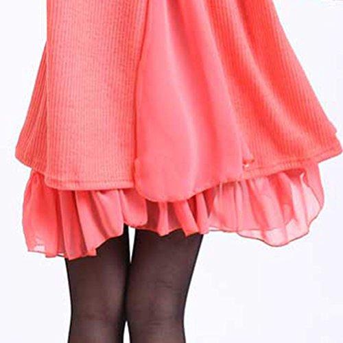 Donne Lingjiu Maglione Maglia Manica Lunga Vestito Pullover Allentato Rotondo Collare Cardigan Arancione Inverno