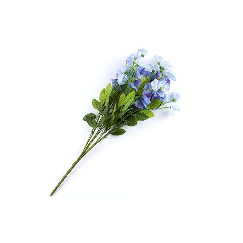 silk flower arrangements factory direct craft blue hued poly silk sweet pea floral bush | for indoor decor