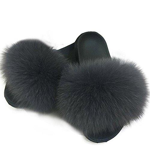 Women's Hot Plush Women Slippers Fox Deep Ladies Furry Slippers Warm Slippers Hair Fluffy Slippers Jwhui Women's Grey for Fur Winter Cute UCqFdUw