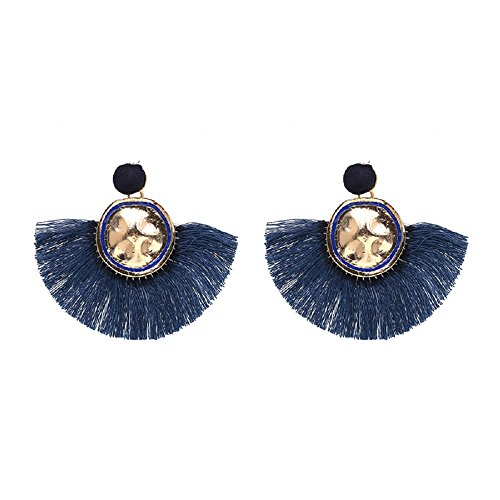 Yacht & Smith Chunky Double Drop Stud Earrings with Fringe Tassels … ()