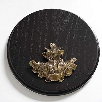 Keilerschild Keilerbrett Trophäenschild rund dunkel AF 13cm Eichenlaub Deckblatt