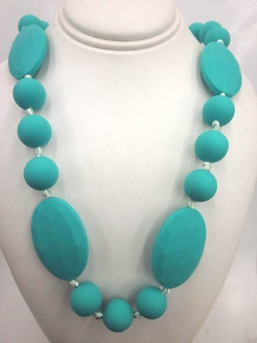- Chewable Teething Necklace for Teething Babies or Nursing Moms. Strand of 14mm Turquoise Beads with 4 Faceted 25 X 40mm Turquoise Oval Beads Alternating with 14mm Beads in The Center