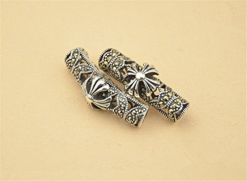 1pc Thai Sterling Silver Rhinestone Filigree Curved Tube Bead / Connector 6mm*26.5mm (T161T)