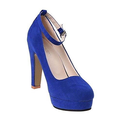 38 Del r Azul Tobillo De Mujer Correa Hebilla Gamuza Tacon Alto Plataforma Imitacion Estilete Toogoo Con Zapatos La RTEdqd