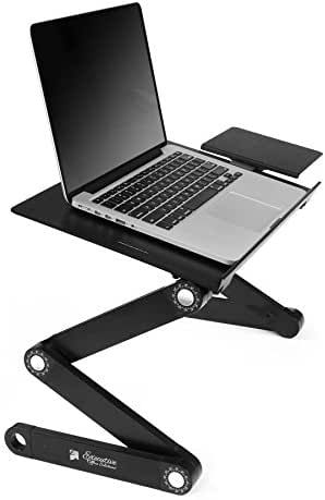 Executive Office Solutions Portable Adjustable Aluminum Laptop Desk/Stand/Table Vented w/CPU Fans Mouse Pad Side Mount-Notebook-MacBook-Light Weight Ergonomic TV Bed Lap Tray Stand Up/Sitting-Black