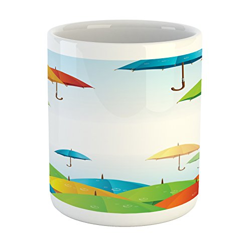 Lunarable Colorful Mug, Umbrellas in Sky Climate Meteorology Storm Pouring Fall Rain Freedom Weather Theme, Printed Ceramic Coffee Mug Water Tea Drinks Cup, Multicolor