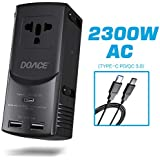 DOACE International Travel Adapter- Universal 2300W AC 28W Power Delivery Type-C Smart 5V/2.4A Dual USB Ports Fast Charge Wall Charger Plug for US,UK,EU,AU and 190 Countries with USB-C to C Cable