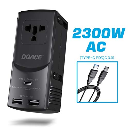 Wall Travel Retractable Charger (DOACE International Travel Adapter- Universal 2300W AC 28W Power Delivery Type-C Smart 5V/2.4A Dual USB Ports Fast Charge Wall Charger Plug for US,UK,EU,AU and 190 Countries with USB-C to C Cable)
