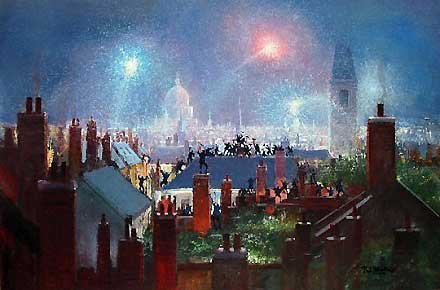 Mary Poppins Fine Art Print on canvas by Peter and Harrison Ellenshaw, Sweeps Dance on Rooftops