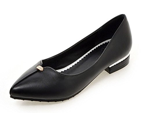 Aisun Womens Fashion Slip Resistant Wear To Work Office Low Cut Pointed Toe Dress Slip On Flats Shoes Black LcHZ2